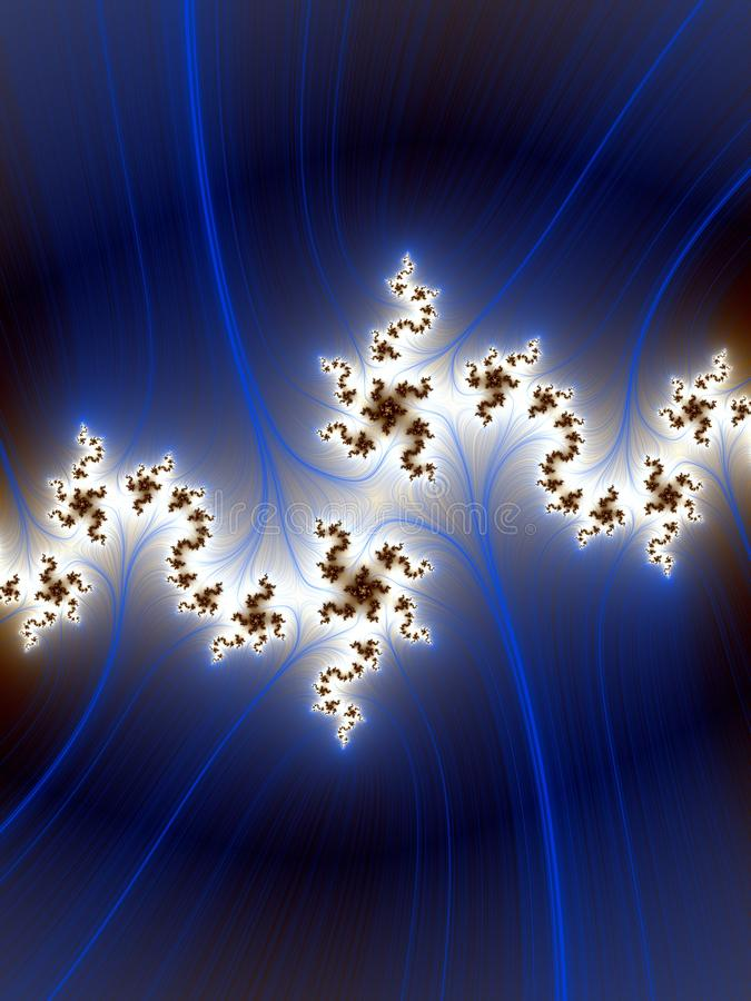 Fractal. blue white phosphorescent bright flowery background, texture. White blue phosphorescent bright fractal lights, fractal geometries, lights, background stock illustration
