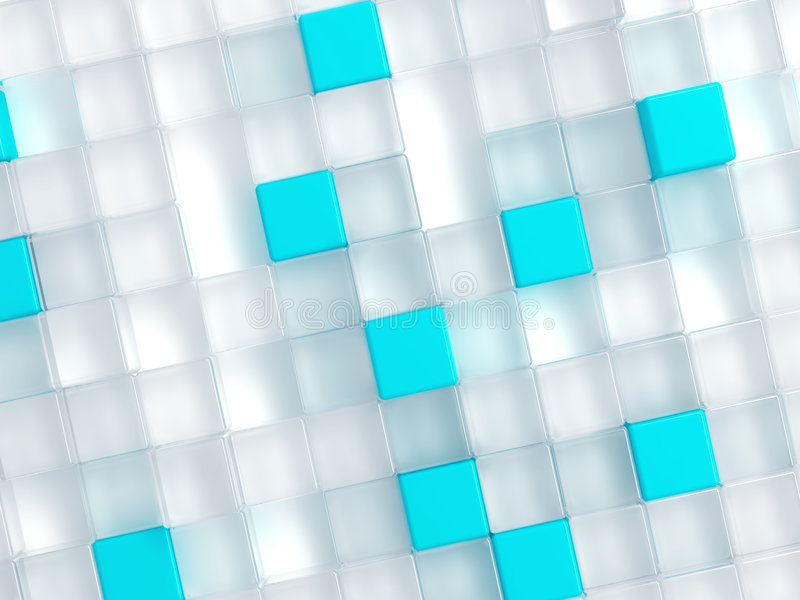 White And Blue Plastic Cubes Royalty Free Stock Images