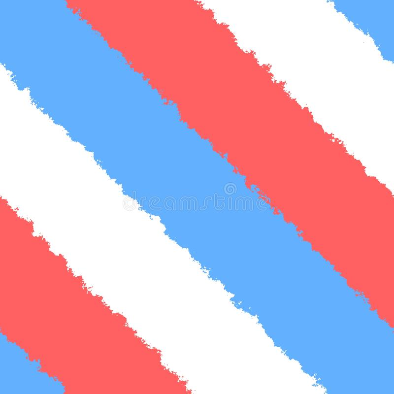 White blue red bright uneven diagonally stripes in street art style. White blue red bright uneven irregular diagonally stripes in street art style stock illustration