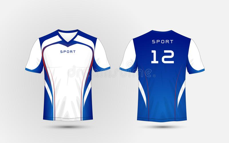 White, Blue and red lines pattern sport football kits, jersey, t-shirt design template stock illustration