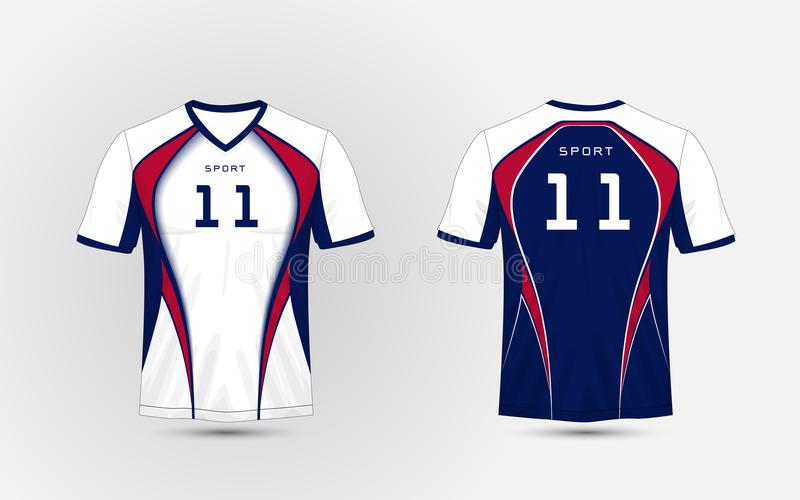 White, Blue and red pattern sport football kits, jersey, t-shirt design template vector illustration