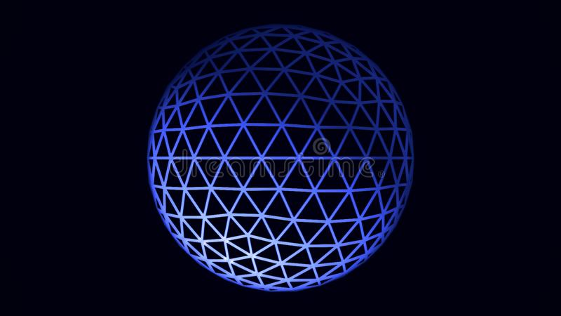 White and blue rotating sphere animation on black background, seamless loop. Spinning transparent ball formed by neon. Triangles on black background royalty free illustration