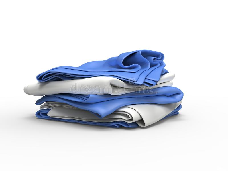 White and blue sheets stacked stock illustration