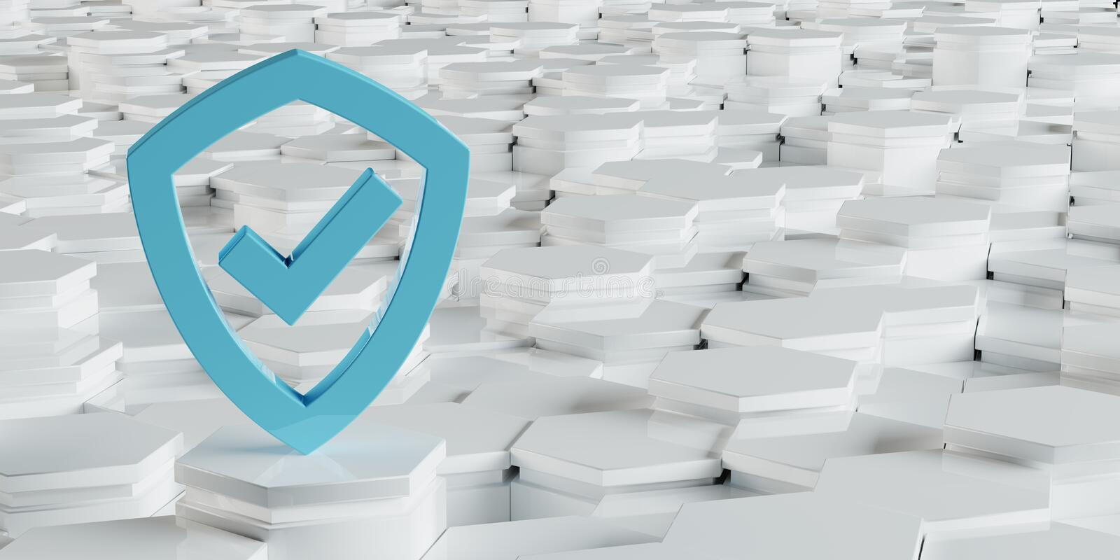 White blue shield icon on hexagons background 3D rendering royalty free illustration