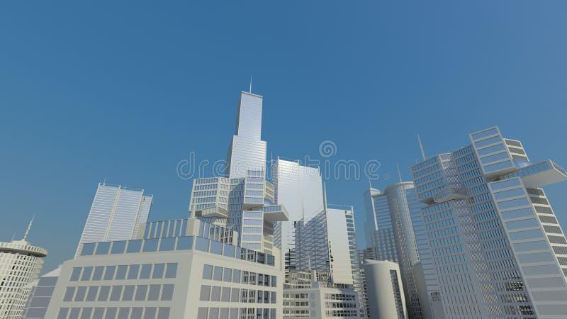White and blue - skyline stock photo