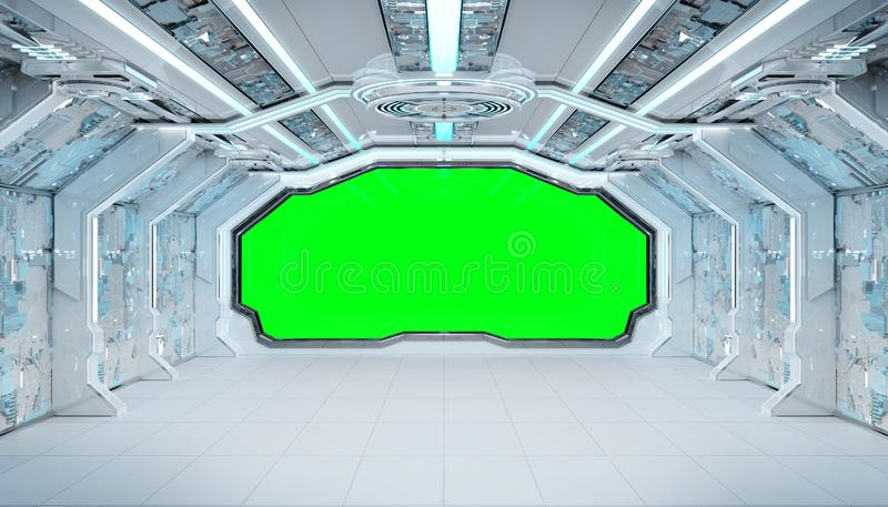 White blue spaceship futuristic interior mockup with window view 3d rendering royalty free illustration