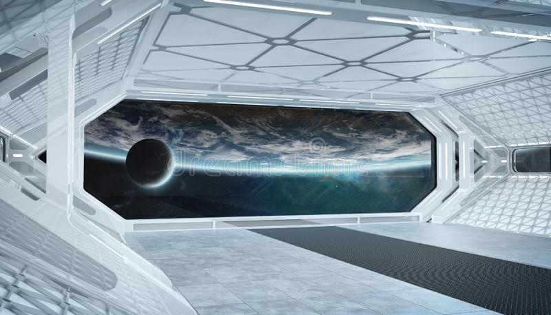 White blue spaceship futuristic interior with window view on planet Earth 3d rendering stock illustration