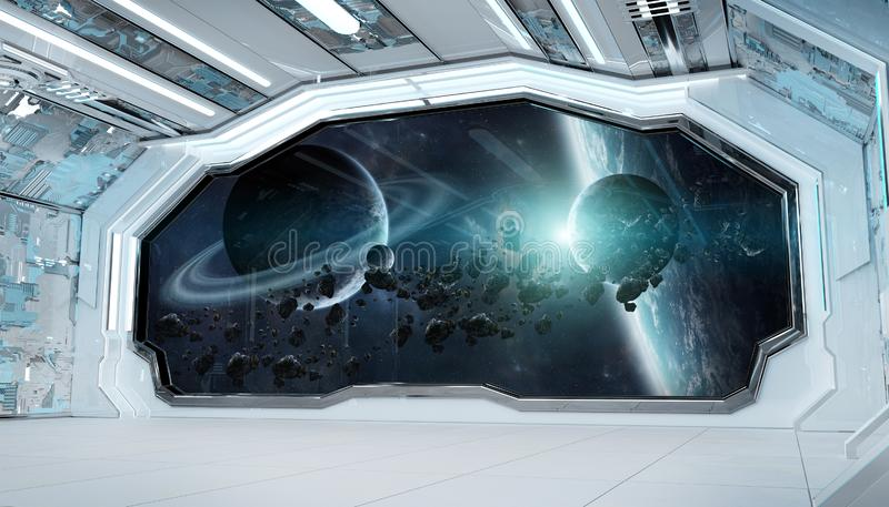 White blue spaceship futuristic interior with window view on space and planets 3d rendering vector illustration
