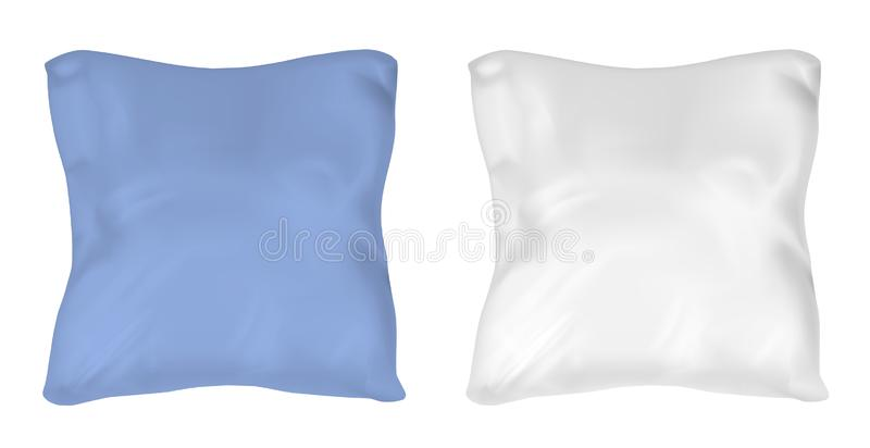 White and blue square pillow. Vector mock up.  royalty free illustration