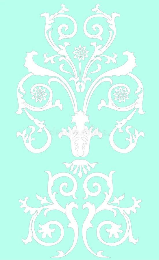 White on blue symmetric pattern