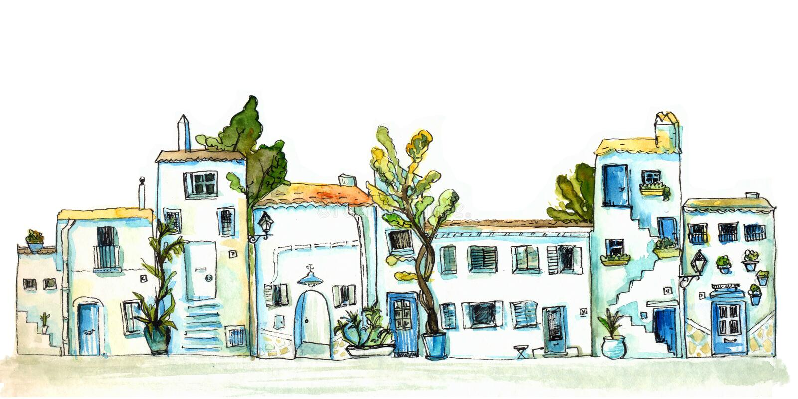 White and blue town street with small houses and trees. Watercolor painting, urban sketch. White and blue town street with small houses and trees. Watercolor stock illustration