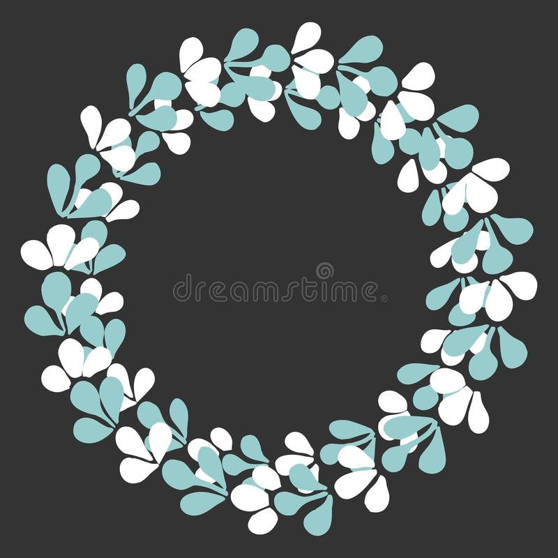 White and blue vector wreath on black background vector illustration