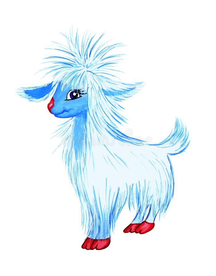 White-blue very fluffy goat on a white background is isolated. Drawn by hand. Illustration, sticker, postcard vector illustration