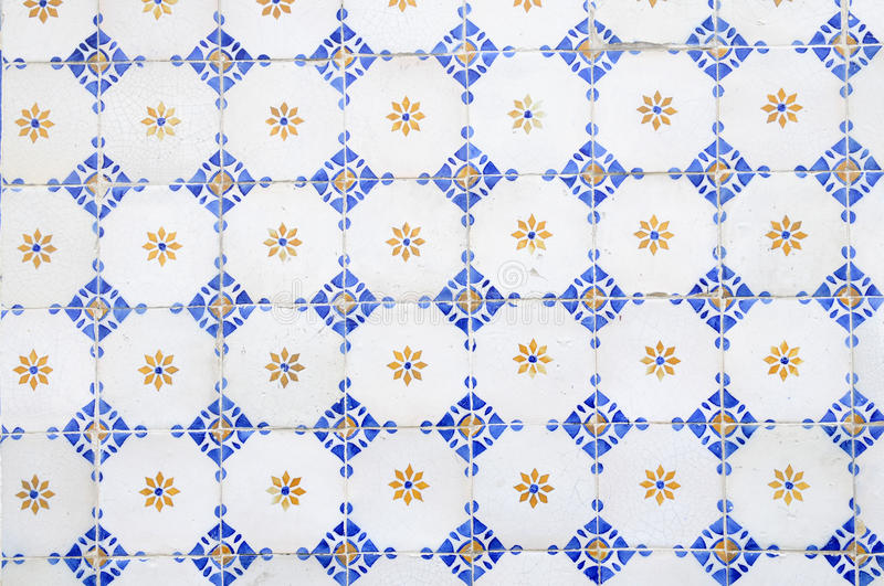 Portuguese Hand Painted Glazed Tiles, White Blue Yellow, Abstract stock photography