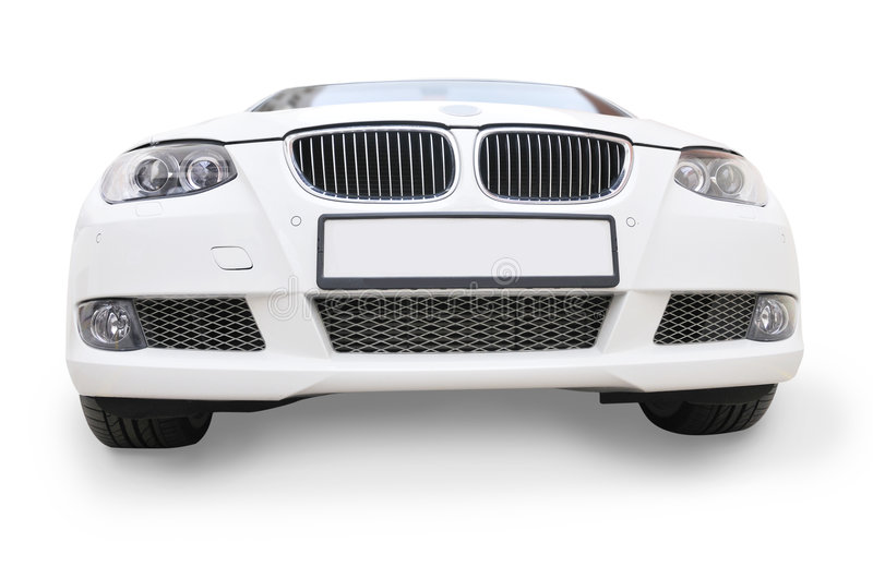 White BMW car front view. A white BMW 335i convertible sports car - front view royalty free stock photography