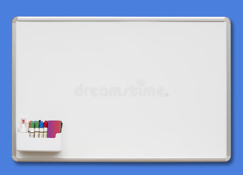White board on blue, isolated stock image
