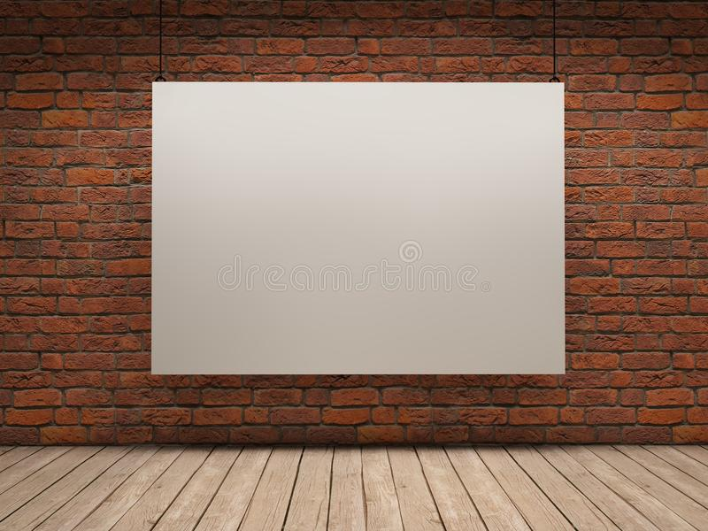 White board on brick room. White Card in a room with beautiful light stock illustration