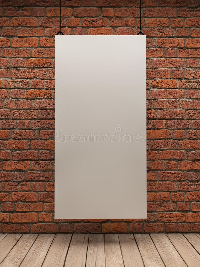 White board on brick wall. White Card in a room with beautiful light stock illustration