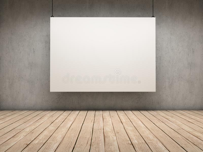 White board. White empty exhibitor board hang in a room with beautiful light vector illustration