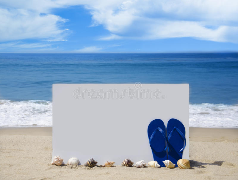 Download White Board With Flip-flops On Sandy Beach Royalty Free Stock Images - Image: 31213049