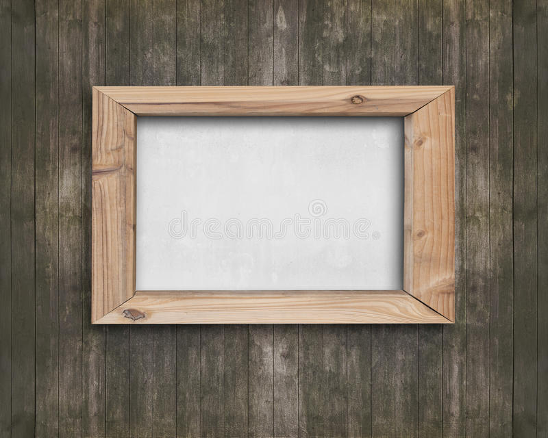 White Board With Wooden Frame On Old Brown Wood Wall Stock Image ...