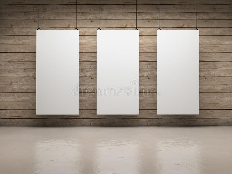 White boards. White empty exhibitor board hang in a room with beautiful light royalty free illustration