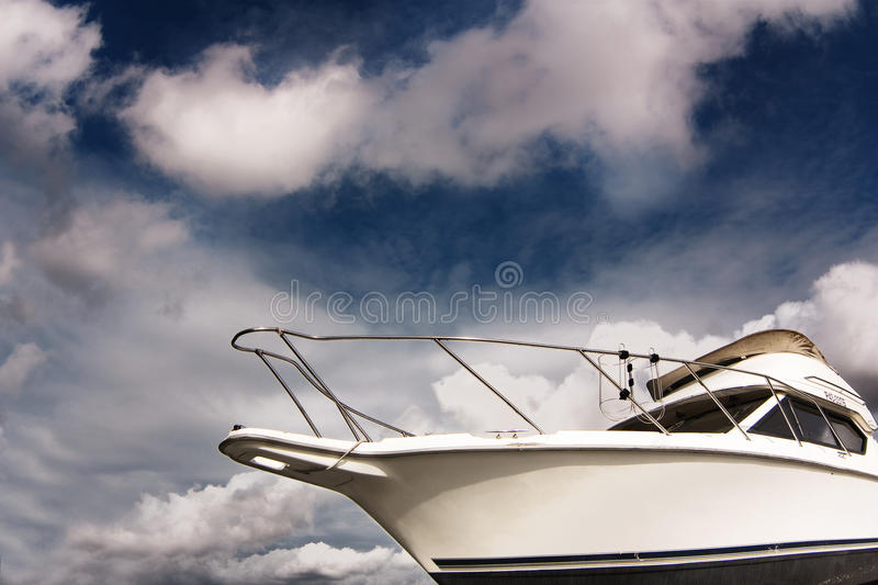 Download White Boat Against The Blue Sky Stock Photo - Image: 10855592
