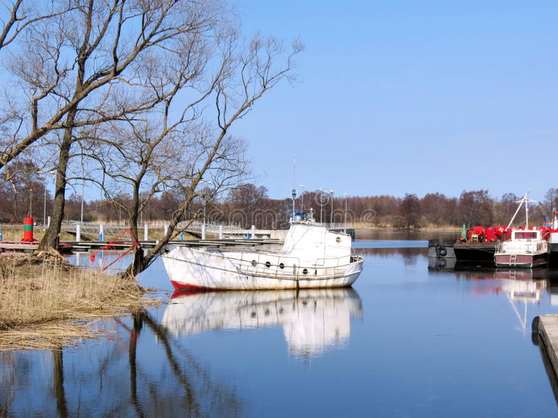 Download White boat stock image. Image of view, trees, tree, sunny - 39515167