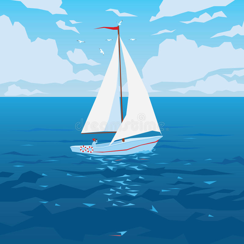White boat with sail and red flag. stock photos