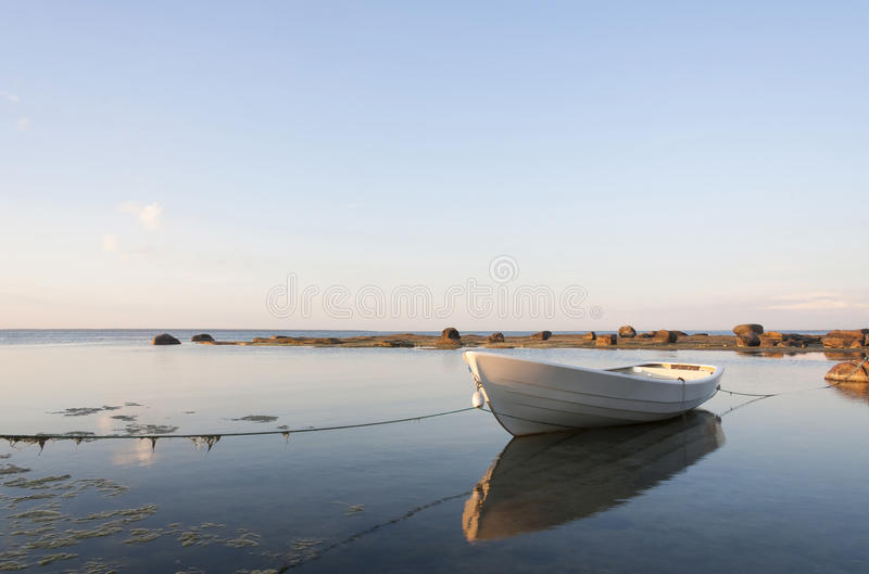 White boat in water stock images