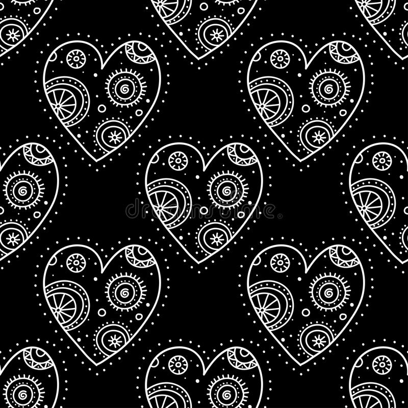 White boho ornamental hearts on black background seamless pattern royalty free illustration
