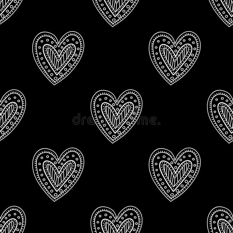 White boho ornamental hearts on black background seamless pattern stock illustration