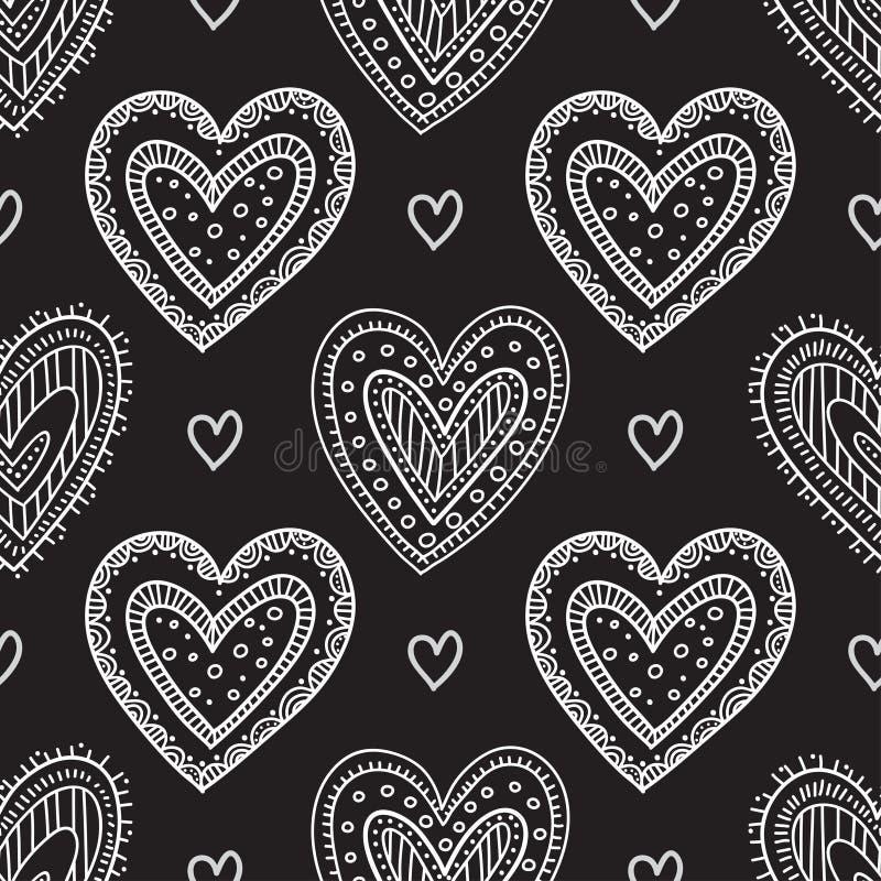White boho ornamental hearts on black background seamless pattern vector illustration