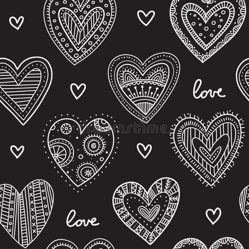 White boho ornamental hearts on black background seamless pattern royalty free illustration