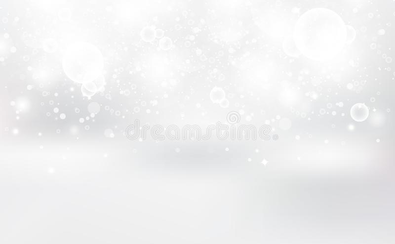 White Bokeh, abstract background, silver stars blinking scatter luxury decorate for christmas winter seasonal holiday vector. White and silver Bokeh, abstract vector illustration