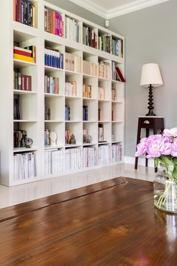 White bookcase at home library royalty free stock image