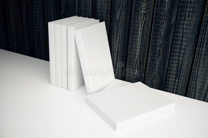 White books leaning on wooden wall royalty free illustration