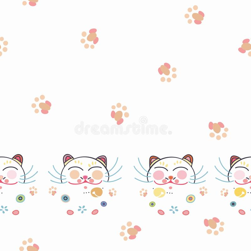 Free White Border With Happy Cat And Florals. Royalty Free Stock Image - 150424476