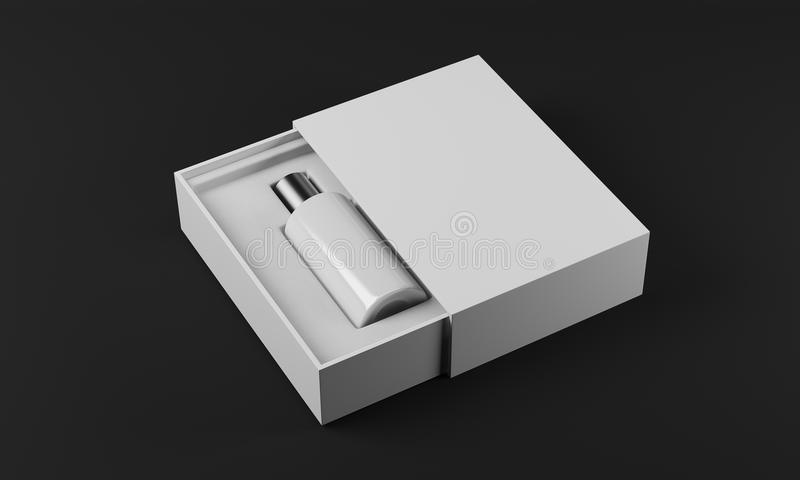 White bottle of perfume. White and silver bottle of perfume in white box laying on black surface. Concept of new fragrance. 3d rendering. Mock up stock illustration