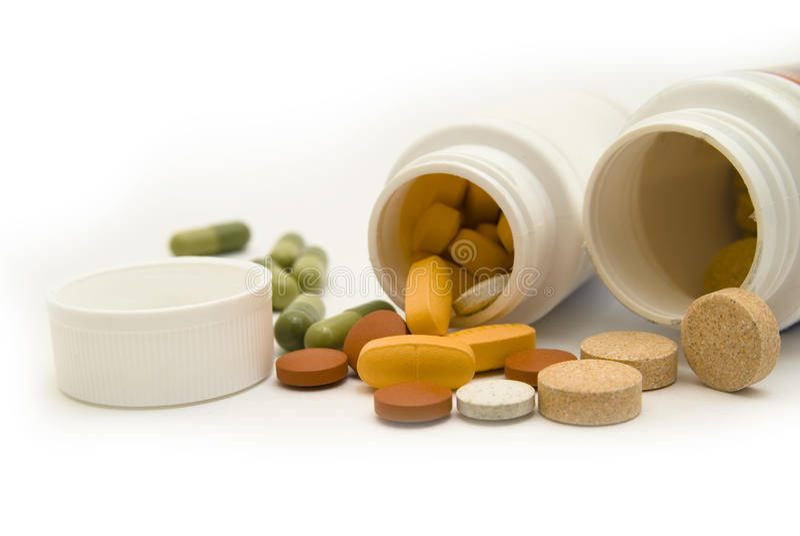 Download White Bottles And Pills Macro Stock Image - Image: 11572937