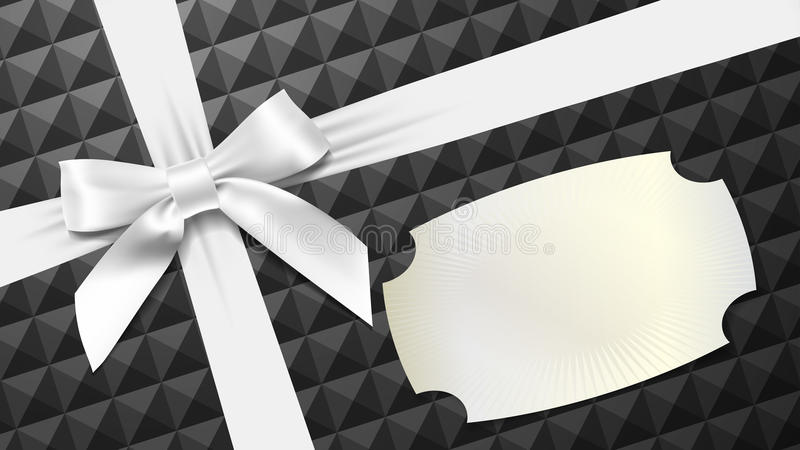 White bow on a black textured background stock illustration
