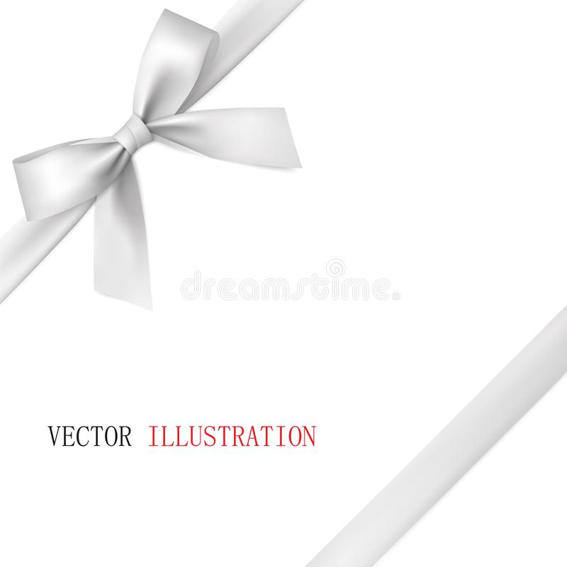 White bow with diagonally ribbon on the corner. stock images