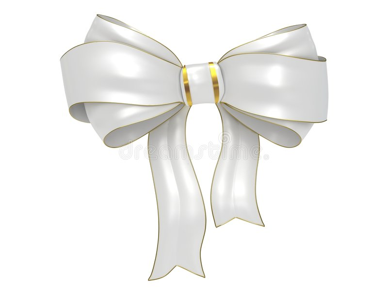 White Bow with gold stripes. Isolated on white background royalty free illustration