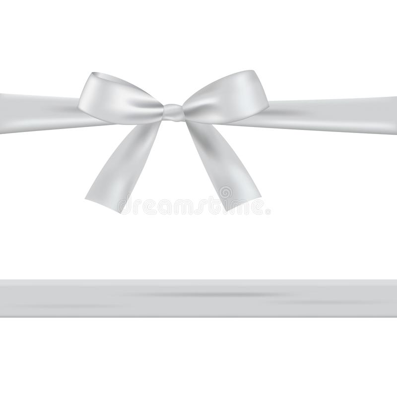 White bow with ribbon. Isolated on a white background royalty free illustration