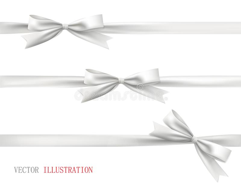 White bow with ribbon. Vector set of beautiful bows. stock photos