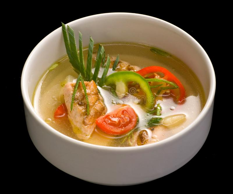 Bowl with fish soup, Close up stock image