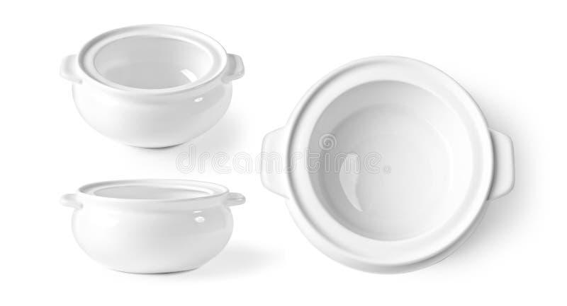 White bowl isolated on white. The White bowl isolated on white background royalty free stock photos