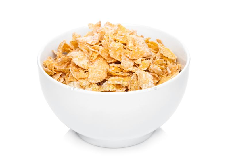 White bowl with natural organic granola cereal stock photo