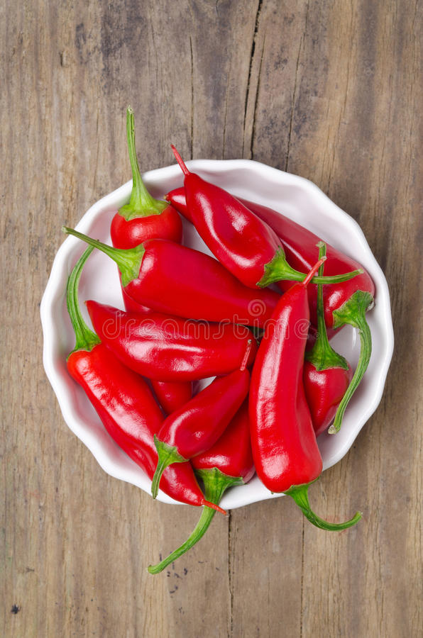 Download White Bowl With Red Hot Chili Peppers, Top View Stock Image - Image: 32636717