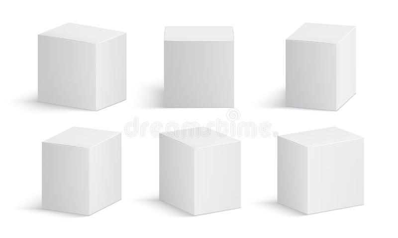 White box. Blank medicine package. Medical product cardboard boxes 3d vector isolated mockup stock illustration